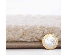 Tapis de bain casa pura® Ombre écru-blanc | ultra doux et souple | 5 tailles au choix | poil long - lavable | diamètre 100cm (rond)