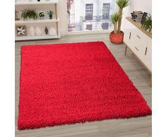 VIMODA Prime Tapis Shaggy Couleur Shaggy Poils Tapis Moderne pour Salon Chambre, Dimensions: 150 cm Carré - Rouge, 60x100 cm