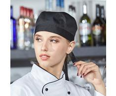 LissomPlume Unisexe Toque Bandana De Cuisine Chef Femme Bandana Chapeau De Cuisinier Homme noir