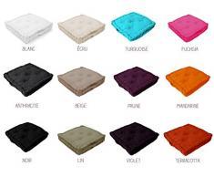 Coussin de sol garni - 40 x 40 cm - Haut. 8 cm - Différents coloris Blanc