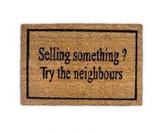 Relaxdays 10019011 Paillasson en fibres de coco avec inscription en anglais Selling something? try the neighbours humour natte de sol Lxl: 60 x 40 cm antidérapant PVC plancher accueil marron