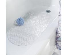 mDesign tapis de bain antidérapant – tapis de douche pour la baignoire et la douche – tapis de bain en PVC avec ventouse – transparent
