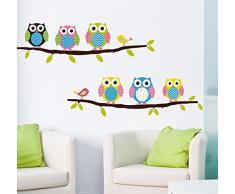 ufengke® Hiboux de Bande Dessinée et Les Oiseaux Stickers Muraux, La Chambre des Enfants Pépinière Autocollants Amovibles