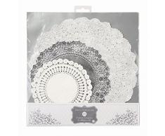 Talking Tables PPS-DOILY Party Porcelaine Lot de 24 Napperons Carton Papier Argent 0,3 x 0,02 x 27 cm