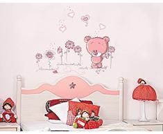 ufengke® Ours Roses Mignons Aiment Coeur Stickers Muraux, La Chambre des Enfants Pépinière Autocollants Amovibles