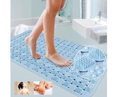 Homdsim sans odeur de solide antidérapant Tapis de bain de sécurité pour baignoire de salle de bain avec Aspiration Grip antibactérien Baignoire Tapis de douche 86,4 x 58,4 cm L x l Bleu clair