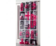Douceur dIntérieur Rideau à Oeillet Microfibre Imprimée London Tour Rose 140 x 260 cm
