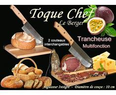 Trancheuse Universelle 2 en 1 2 Couteaux Guillotine à Saucisson Fromage Pain Toque Chef By Le Berger AFFUTEUR INTEGRE 2 Lames Interchangeable