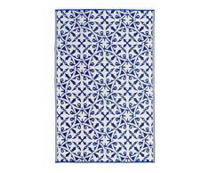 FAB HAB San Juan - Tapis Bleu foncé en Polypropylène recyclé pour intérieur/extérieur (90 cm x 150 cm)