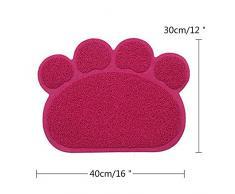 niceEshop(TM) Tapis de Gamelle en PVC Antidérapant sous Forme de Patte pour Chien et Chat (Rose Rouge)