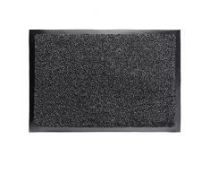 Relaxdays Paillasson gris chiné tapis dentrée couloir intérieur extra plat mince 60 x 90 cm, noir-gris