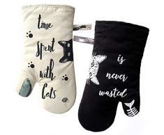 GREVY Gants de Cuisine Gants de Four Anti Chaleur Manique et Gant pour Cuisiner, Barbecue, Cuisson, Ivoire et Noir, Cat et chat noir, amoureux des chats