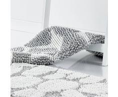 Les Ateliers du Linge Tapis de bain Shaggy galets gris/blanc 80x50 cm