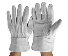 Peanutaoc Gants de Soudeur en Cuir de Vachette Durable et Ignifuge Confortable Anti-Chaleur Gants de Travail pour souder des Outils à Main en métal