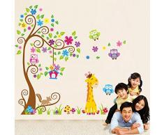 ufengke® Arbre Coloré de Fleurs Mignons Hiboux Lion de Cerfs Stickers Muraux, La Chambre des Enfants Pépinière Autocollants Amovibles