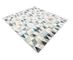 Moderne géométrique 6-Feet par 6-Feet (6 'x 6') carré Mirage Beige contemporain Zone Tapis