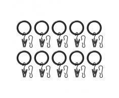 IKEA SYRLIG - anneau de rideau avec pince et crochet, noir / paquet de 10 - 25 mm