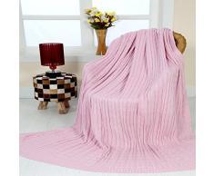 Homescapes Jeté de canapé Rose pastel 130 x 170 cm