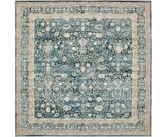 Moderne Country 6-Feet traditionnelles en 6-Feet (6 'x 6') carré Cambridge Bleu foncé contemporain Zone Tapis