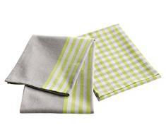 Douceur dIntérieur Set de 2 Torchons Petits Plats Coton Vert 50 x 70 cm