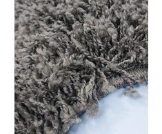 Moderne tapis Designer Shaggy VIE carré TAUPE 160 X 160