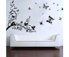 BestOfferBuy - Sticker Mural Illustré par un Arbre Romantique et des Papillons (Décalcomanie)