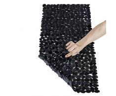 Tapis de bain et de douche Pinzz en vinyle antidérapant et antibactérien, motifs galets, système de ventouses puissant, lavable en machine, Vinyle, noir, 88x40CM