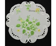 Quinnyshop Rose Napperon 40 cm Rond Polyester, Blanc