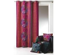 Home Maison 09409-8-AL Rideaux Velours Imprimé avec Oeillets Ronds Bordeaux/Argent 140 x 260 cm