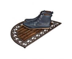 Relaxdays Paillasson en fonte avec brosse essuie-pieds tapis dentrée en fonte rond h x l x P: 4 x 72 x 39 cm style maison de campagne ancien anti-dérapant natte de sol, bronze