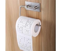 aostar Porte-papier toilette sans perçage, breveté Support Papier Toilette Porte-rouleau papier toilette rouleau de papier WC de rechange pour papier toilette, film autocollant 3 M Tapis de colle, aluminium, finition, multicolore