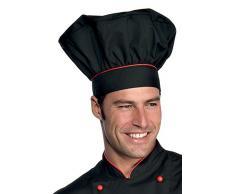 Toque de chef cuisinier noir rouge