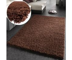 Tapis Shaggy Longues Mèches En Brun , Dimension:150x150 cm carré
