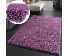 Tapis Shaggy Longues Mèches En Pourpre Violet, Dimension:150x150 cm carré