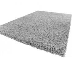 PHC Tapis Shaggy Longues Mèches En Gris, Dimension:150x150 cm carré