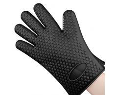 1 Gant de cuisine en silicone résistant anti-chaleur anti-brûlures surface anti-dérapante Pour Manipuler les Plats Chauds, Noir