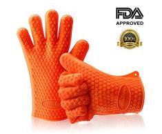 Thermopro TP-100 Gants de Cuisine en Silicone Anti Chaleur Surface Antidérapante Orange
