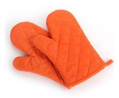 Freessom 1 Paire Gant de Four Antichaleur Antidérapant Resistant a la Chaleur Homme Femme Professionnel pour Four à Cuisine, Pizza, Barbecue, Cuisson, Micro-ondes, Nanotechnologie, 100% Coton Doublure Maniques Cadeau Ideal (Orange)
