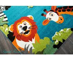Enfants tapis animaux, poil ras Turquoise Rouge Blanc Noir Orange Vert Bleu Gris Größe 120x170 cm