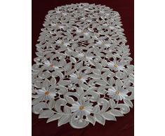 Chemin de table Nappe Crème/blanc brodé avec Mage Rites Surnappe Napperon, Polyester, 40 cm x 110 cm