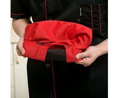 Hosaire Chef Chapeau en Coton Toque de Cuisinier Chapeau de Cuisine Ajustable Casquette de Travail de Restaurant pour Adultes -Rouge