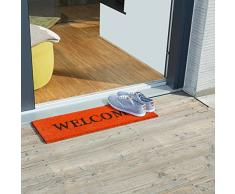 Relaxdays Paillasson long fibre de coco tapis de sol WELCOME 75x25 antidérapant orange, 80 x 150 cm