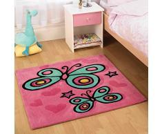 KIDDY Play Tapis papillon rose carré Tapis pour enfants Taille : 90 cm x 90 cm (2 m 11,5 en X 2 m 11,5 en)