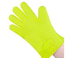 1 Gant de cuisine en silicone résistant anti-chaleur anti-brûlures surface anti-dérapante Pour Manipuler les Plats Chauds, Vert