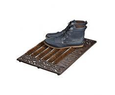 Relaxdays Paillasson en fonte avec brosse essuie-pieds tapis dentrée en fonte rectangle WELCOME h x l x P: 4 x 57 x 37 cm style maison de campagne ancien anti-dérapant, bronze