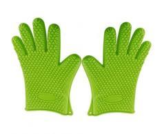 Kitch N' Wares - Gants anti-chaleur en silicone - parfaits pour la cuisine, la pâtisserie, les barbecues, etc. - étanches - pour un usage domestique ou professionnel - vert