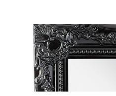 Miroir mural rectangulaire avec cadre en couleur antique avec patine 37 x 47 cm – Miroir baroque en bois | dans le style maison de campagne comme Miroir de salle de bain – miroir ou miroir de Salon pour maison de campagne, Bois, Schwarz, 32 cm