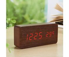 Yihya Rouge Design à la Mode Digital Alarme LED Snooze Horloge Réveil électronique Clock Date Température Affichage avec Sound Control Capteur de Lumière + Veilleuse