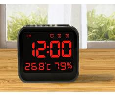 niceEshop(TM) Réveil Digital Triangulaire en ABS avec LED Affichage de Température et Humidité (Noir)