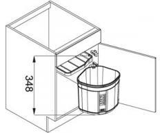 FRANKE 121.0176.518 Poubelle de tri des déchets, Plastique, Noir, 17,5L